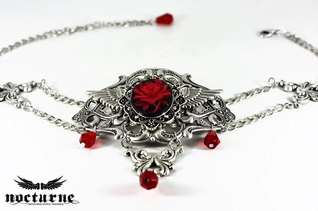 Silver Gothic Choker Necklace - Black and Red Cameo - Statement Necklace - Victorian Gothic Jewelry