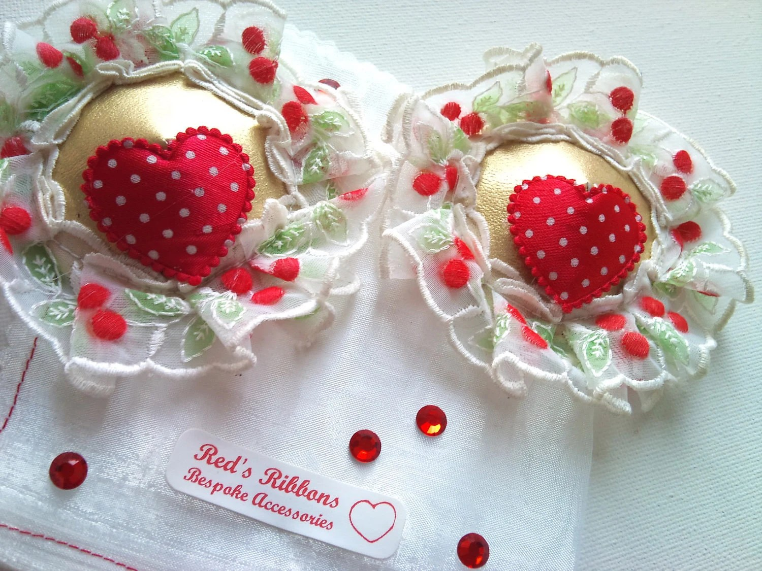 cherry heart Nipple pasties -  a frilly cherry trim with a polka dot heart .