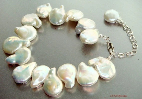 White Coin Pearls Sterling Silver Bracelet