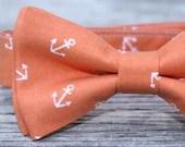 Boys Bow Tie in Orange Nautical Anchors - littlevys
