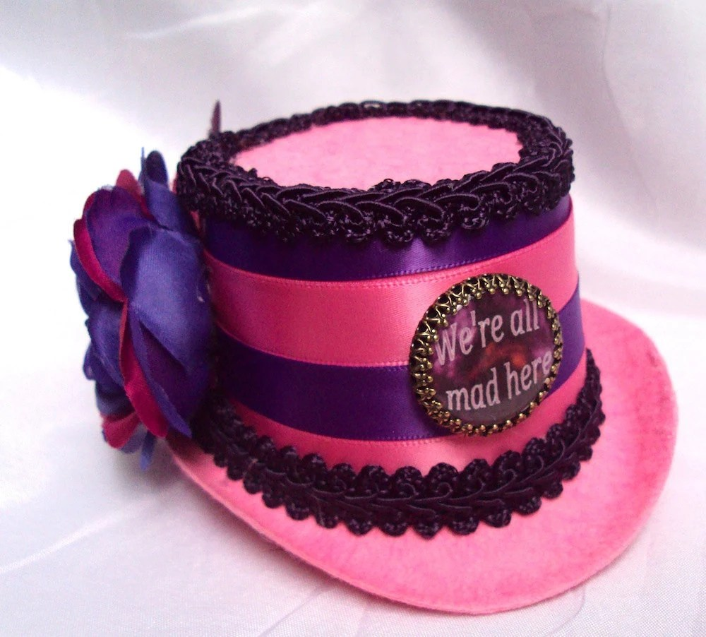 "Cheshire Cat Alice in Wonderland Inspired Mini Top Hat ""We're All Mad Here"" In Pink And Purple Stripes"