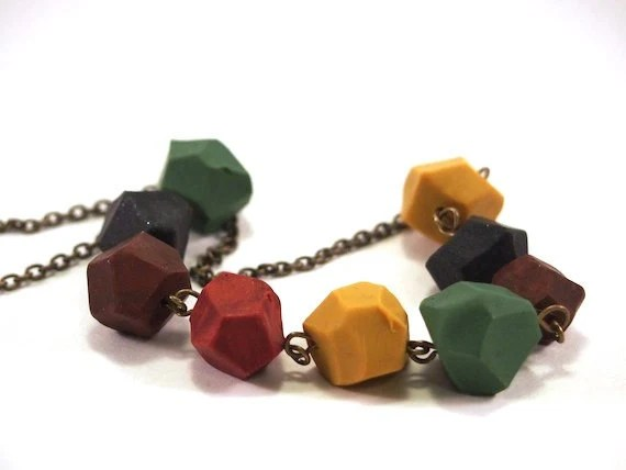 Faceted polymer clay necklace - Earth Tones