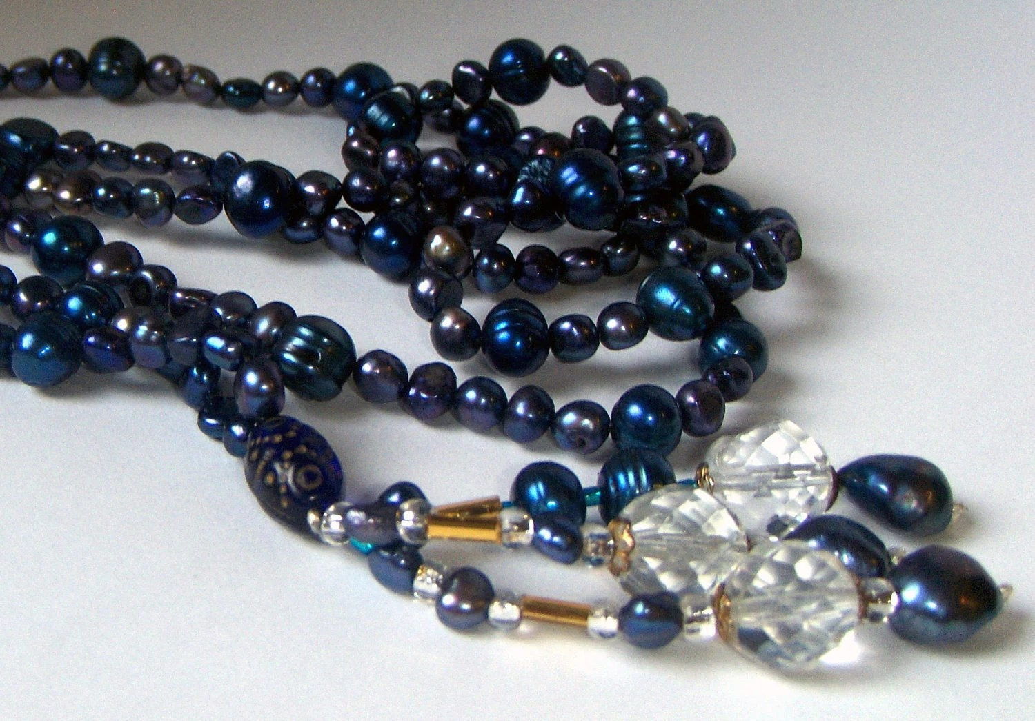 MovableArt / Blue Pearl Necklace Blue Pearl Bracelet Royal Sapphire, Navy Blue Freshwater Pearls