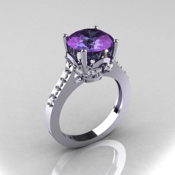 Classic 18K White Gold 3.0 Carat Alexandrite Diamond Solitaire Wedding Ring R301-18KWGDAL