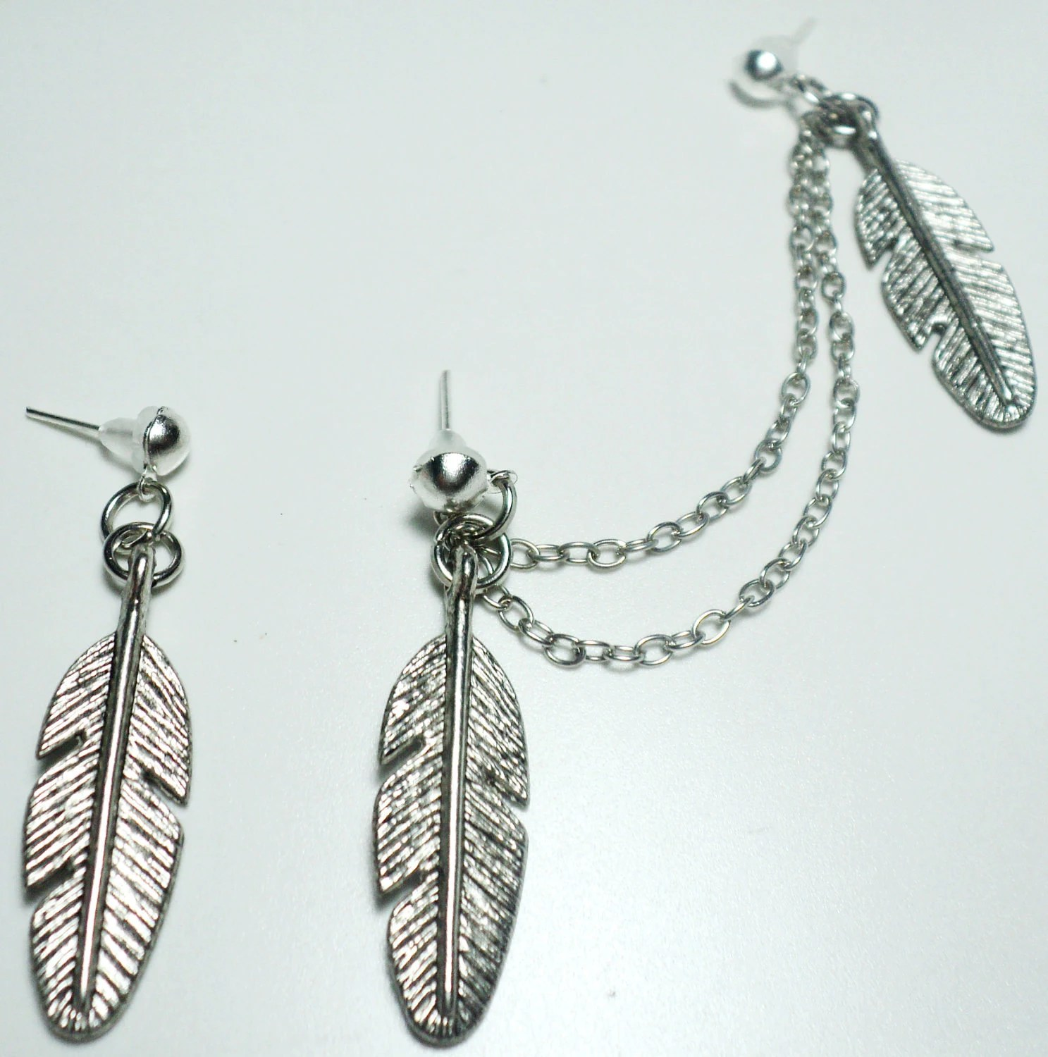 Beautiful Feathers Silver Double Chain Stud Earring