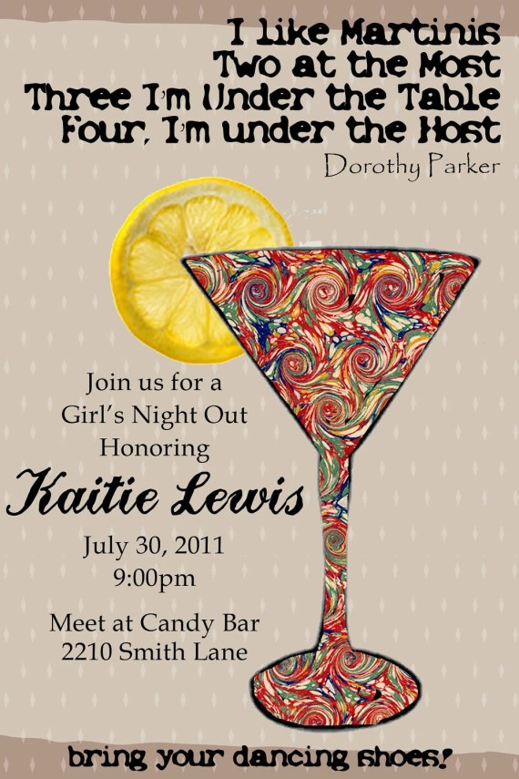 Bachelorette/Girls Night Out Martini Invitation-Print-Your-Own - MyLeftWelly