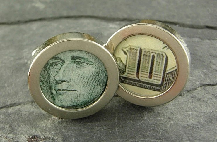 B02 New Cufflinks Alexander Hamilton 10 Ten Dollar Bill Paper Money Currency Mint  FREE Worldwide Shipping