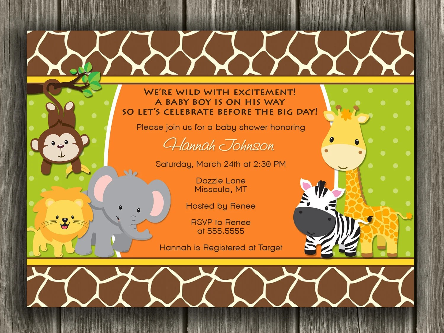 Jungle Baby Shower Invitation - FREE thank you card included