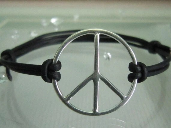 Men's Solid Sterling Silver Peace Sign Black Leather Adjustable Bracelet