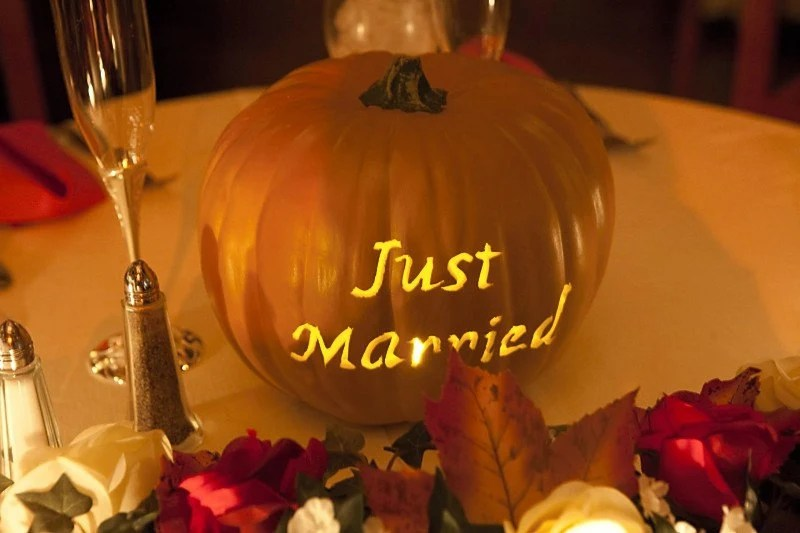 Fall Wedding Carved Pumpkin Custom Made