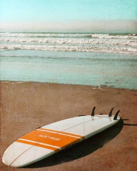 Vintage Surfboard Art Print - Retro Beach Surf Orange White Aqua Surfing Beach House Home Decor Wall Art Photograph - SevenElevenStudios