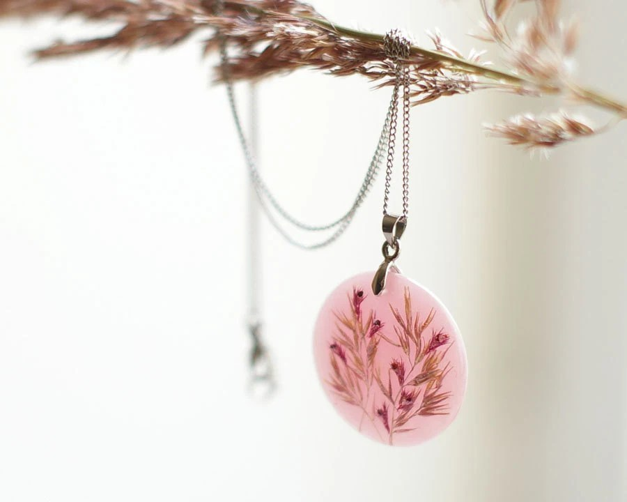 Real flowers necklace - Pink soft dreamy resin handmade jewelry - Phalaroides & Amaranthus - UralNature