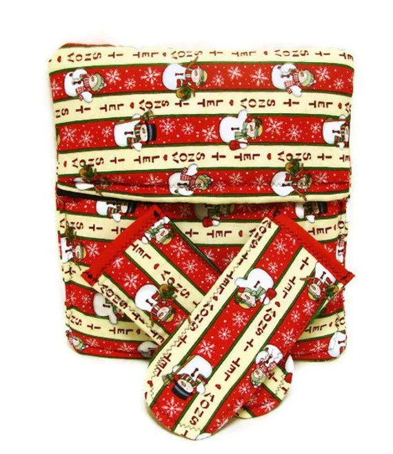 Potato Bag Pot Holder Handle Set - Christmas Snowman- Let It Snow
