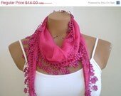 ON SALE Pink Scarf Fuschia Scarf Cotton Scarf with Flowered Lace Summer Fashion - fizzaccessory