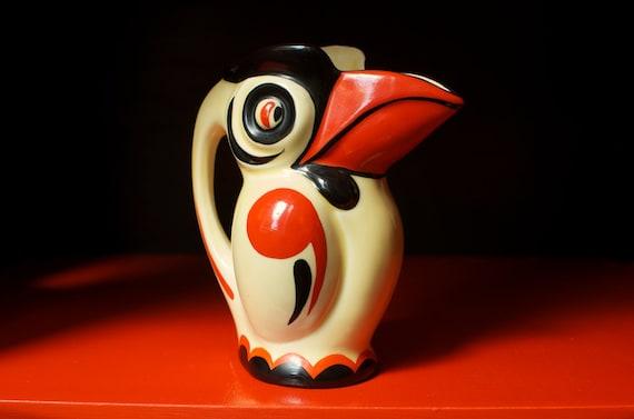 Rare Ditmar Urbach Czechoslovakia Art Deco Pottery Toucan pitcher