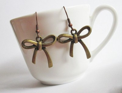Bow earrings bow tie, cute romantic little metal tie ribbons dangle affordable earrings, antique bronze, retro style, vintage, brass
