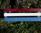 Primitive Reclaimed Wooden Storage Crate Painted Red White Blue - phyllissexton
