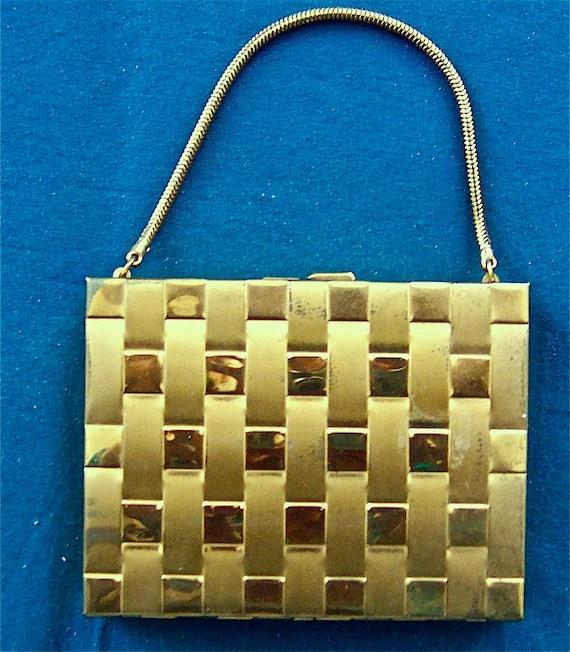 vintage 1930s gold evening purse/bag for makeup, cards, cigarettes- a CLASSIC
