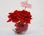 Valentine Silk Rose Velvet Round Glass Vase - flovery
