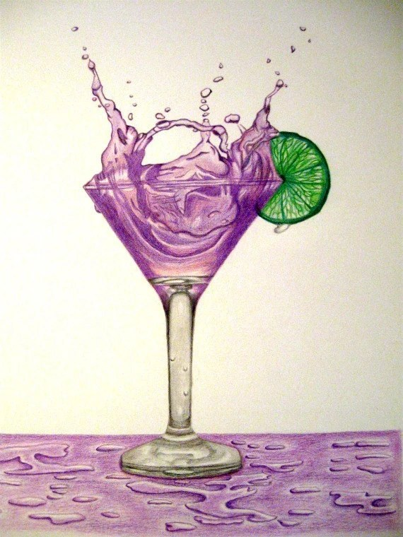 Purple Martini Splash With a Green Lime Original Drawing with Prismacolor Pencils - gvstrns