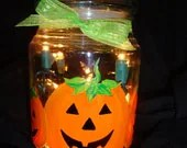 Jack O Lantern Lighted Jar - LoveAndSparkle