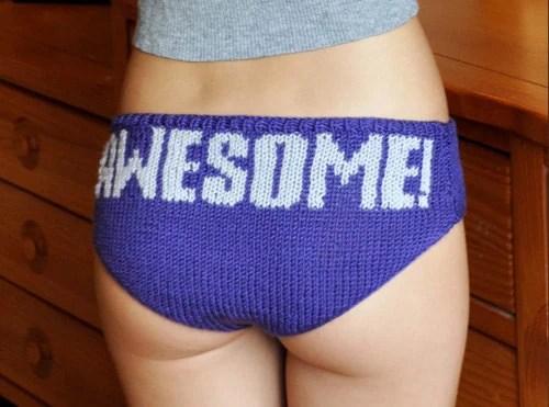 Knitting is Awesome Purple Hipster Panties KNITTING PATTERN - girlyknits