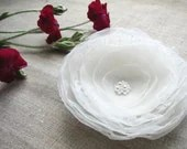 White flower hair clip, brooch - AijaS