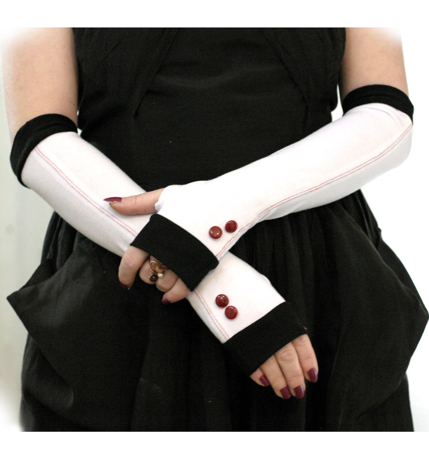 Elegant white wiht black edges and shiny cherry vintage buttons  fingerless gloves  - Wedding Gothic Steampunk  Alice  Chic Classic Red - WearMeUp