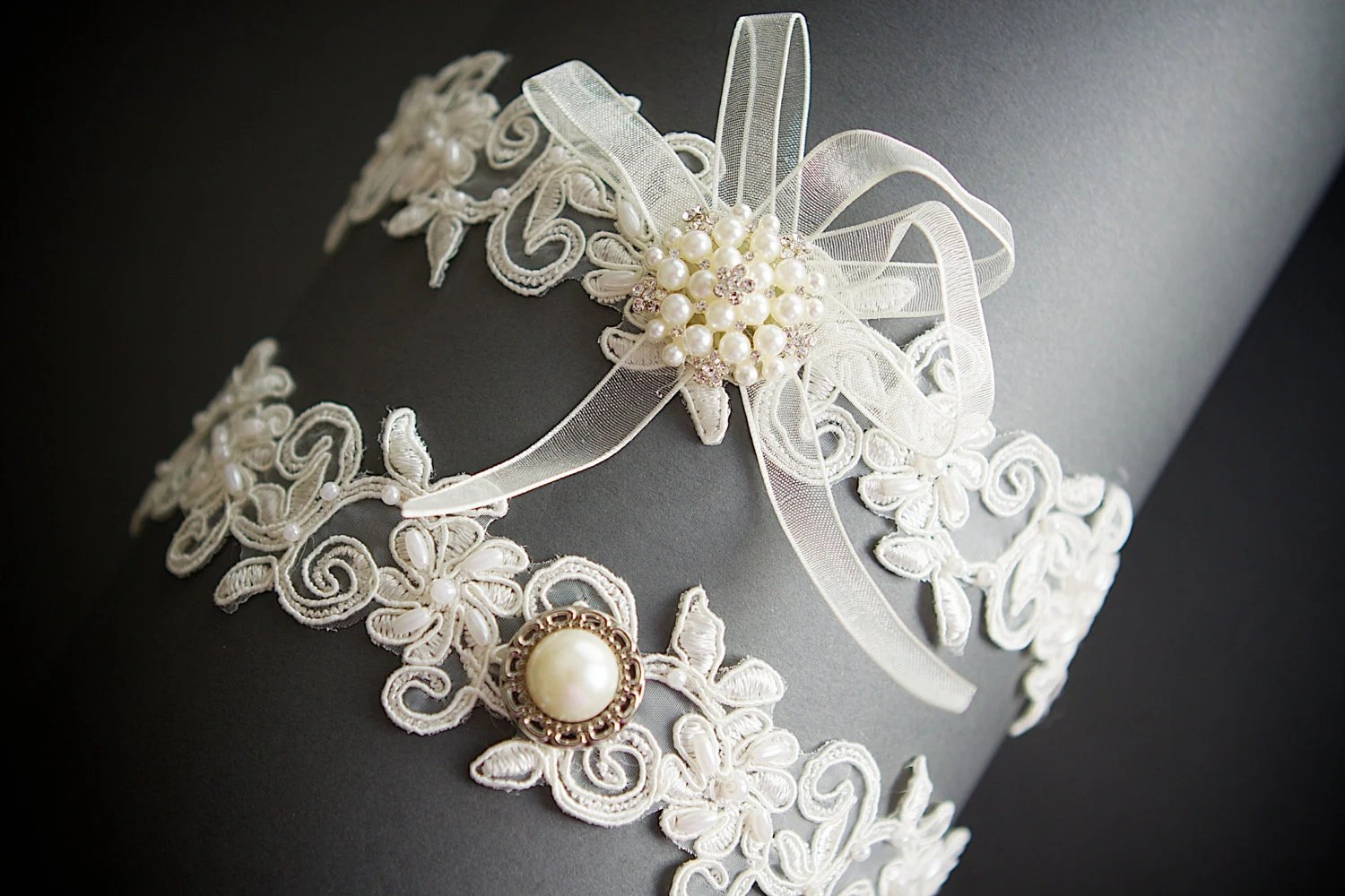 69201e9ef50 Ivory Floral Beaded Lace Bridal Garter Set Wedding Garter Set Toss Garter  Bridal Accessories Pearl Accent
