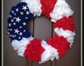 "18"" Red White and Blue Flag Wreath - TheGlueGunGuru"