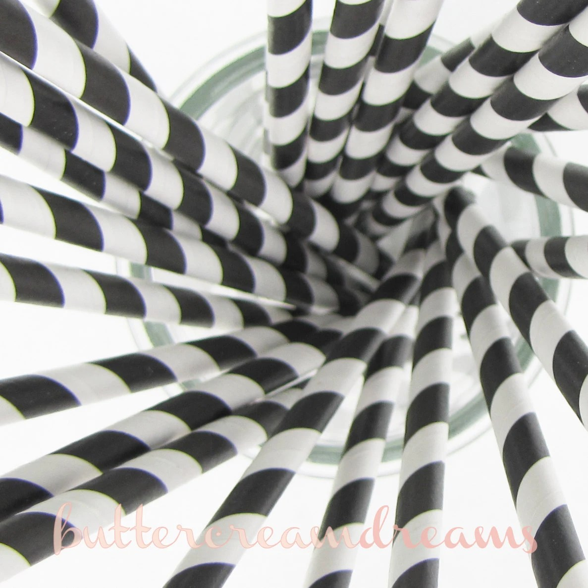 Paper Drinking Straws (25) - BLACK & WHITE - with FREE 5x7 Party Invitation Download - ButtercreamDreamShop