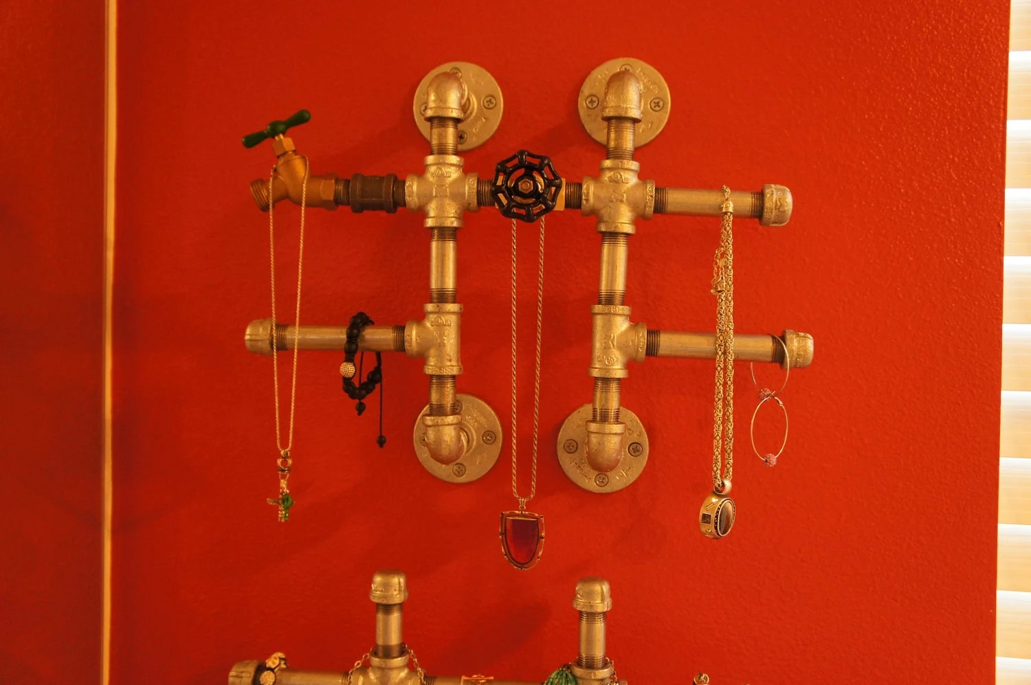 Galvanized Iron & Brass Valve Wall Hanging Industrial Jewelry Display
