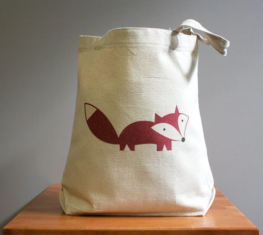 Canvas tote bag, fox, happy cute and adorable. Sturdy 100% 10oz. cotton canvas. - squarepaisleydesign