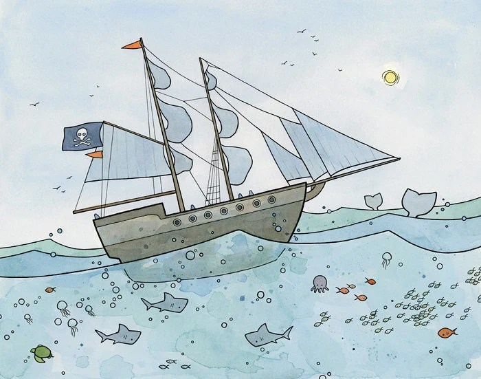 Pirate Ship and Sea Creatures Illustration Print - studiotuesday
