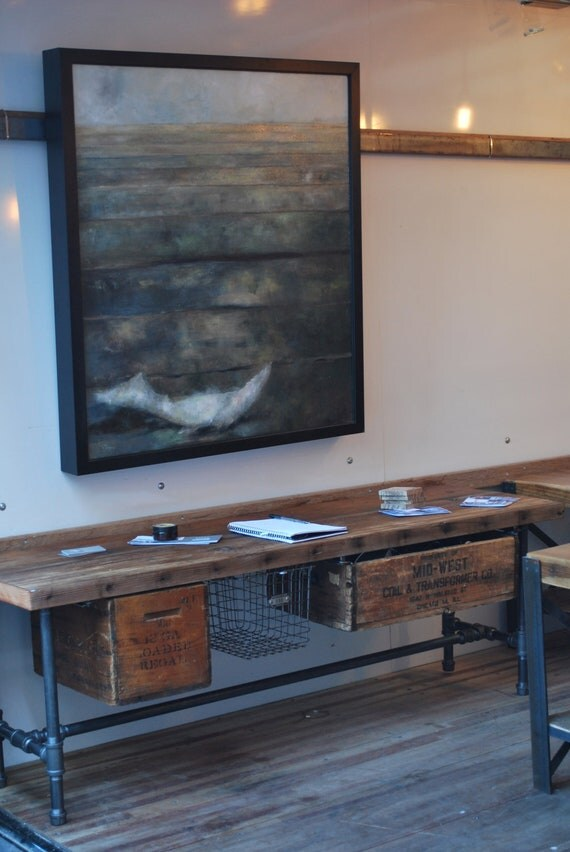 "Industrial Reclaimed wood media/tv stand (150 year plus ""old growth"" wood)  48""  l x 14"" deep  w x 20"" tall"
