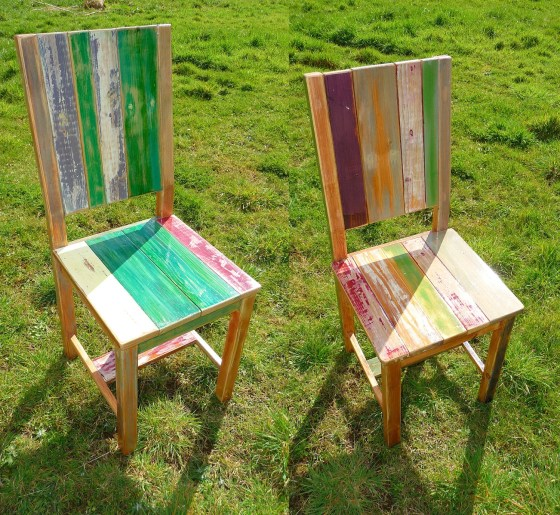 eclaimed pine wood chairs- TheWoodCaboodle