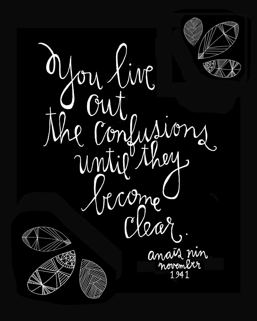 Anais Nin Quote - Live Out Confusions Print - Standard Size