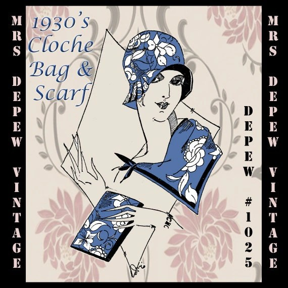 Vintage Sewing Pattern French 1930's Cloche Hat, Clutch Bag and Scarf PDF Depew 1025 -INSTANT DOWNLOAD-