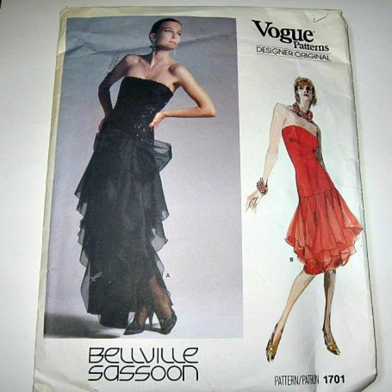 1980s vogaue sewing pattern designer eveening gown dress sassoon unused