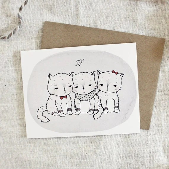 Kittens in Mittens Card - 1pc