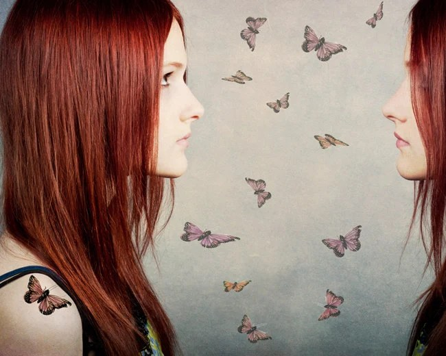 Dreamy Portrait Photo, Digital Art Collage, Modern Home Decor, Dreamer, Butterfly, Red haired girl, gray, 8x10 Fine Art Print - TheShutterbugEye