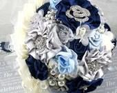 Brooch Bouquet Wedding Bouquet Navy Blue, Ivory, Silver and Powder Blue - Something Blue - SolBijou
