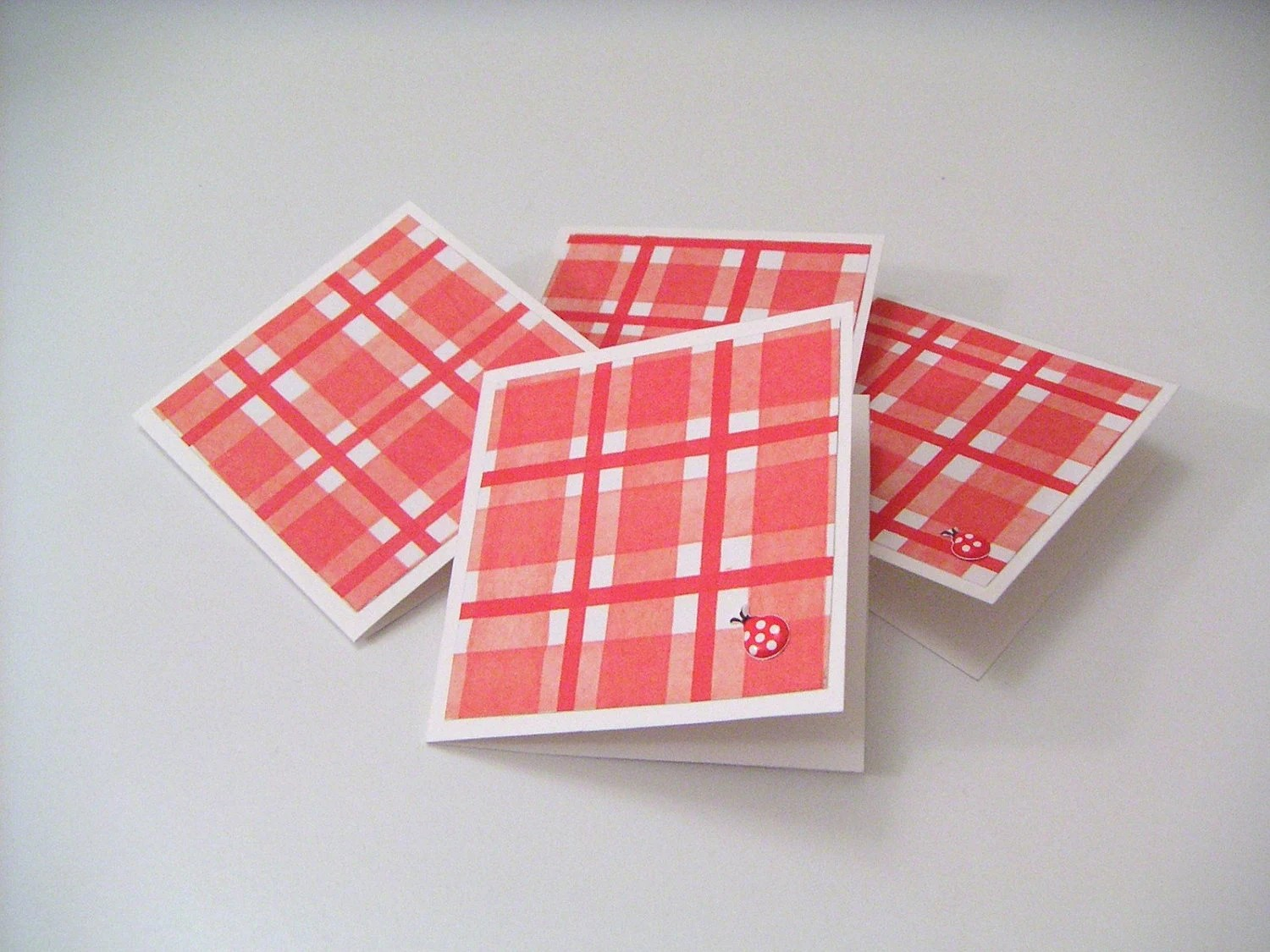 Red Plaid Mini Notecards and Gift Tags - Lovely Ladybugs - monetware