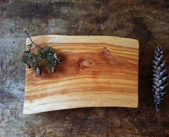 Cutting Board Footed Serving Tray Rustic Birch Cheese Board Salvaged Wood Bread Board Wedding Gift for Dudes Pine Cone