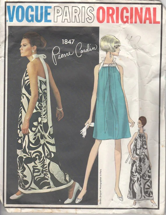 Maud Adams modelling a 1960s Pierre Cardin maxi dress pattern, Vogue 1847