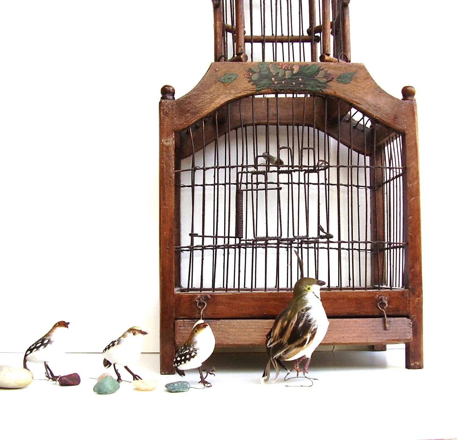 Vintage Wooden Birdcage Dome Wood & Wire Victorian Style - OceansideCastle