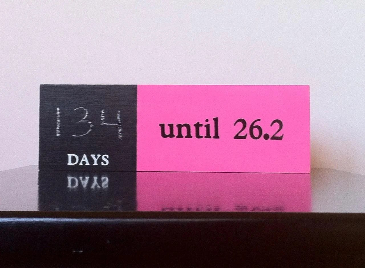 Chalkboard countdown for Marathon 26.2, Half Marathon 13.1, Ironman Triathlon 140.6 or 70.3