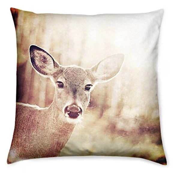 Accent Pillow Cover Home Decor Pillow Cover Autumn Fall Deer Print Fabric Cushion Cover - CSERASURFACEDESGN