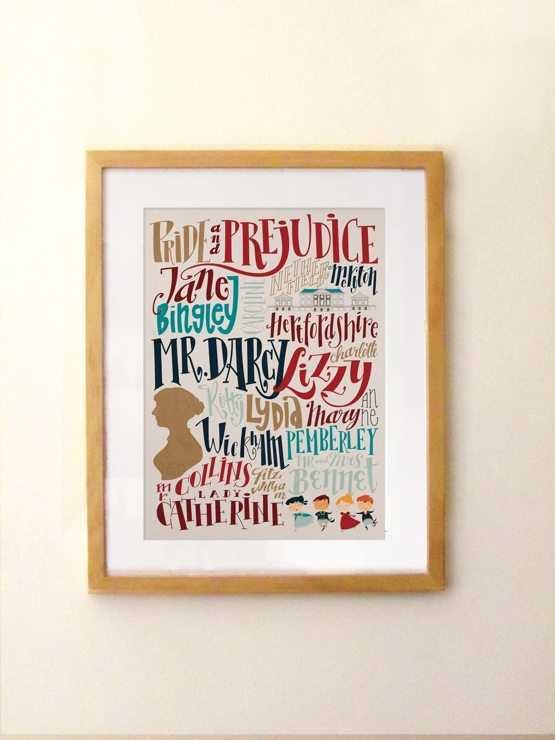 Jane Austen - Pride and Prejudice print - characters and places(12,60 x 18,10)