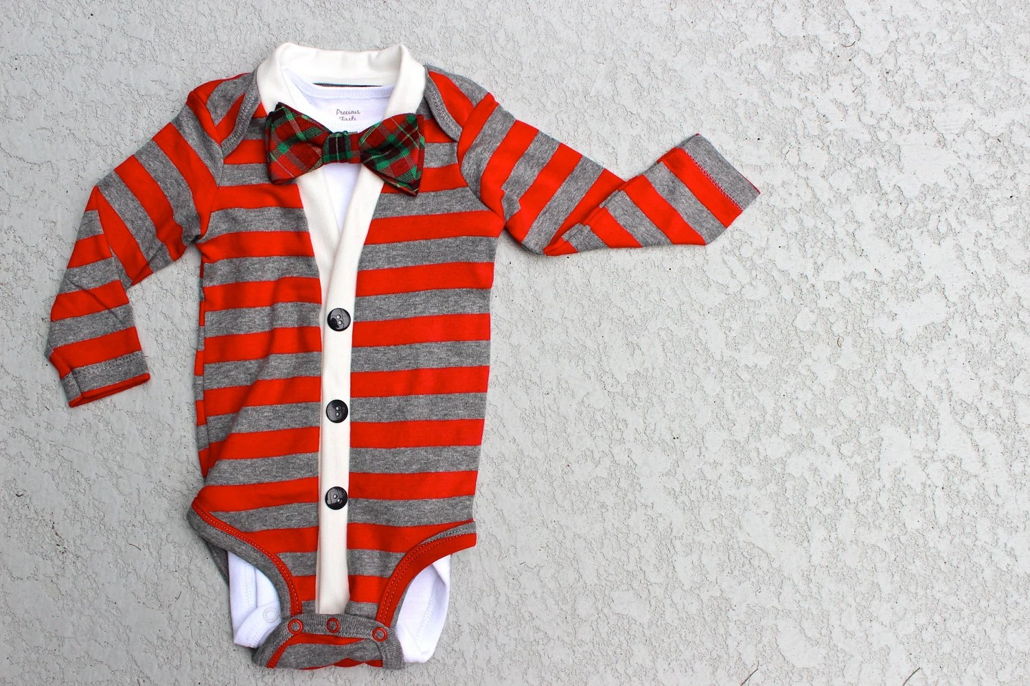 Cardigan and Bow Tie Onesie Set - Red Stripes with Plaid Bow Tie - Christmas